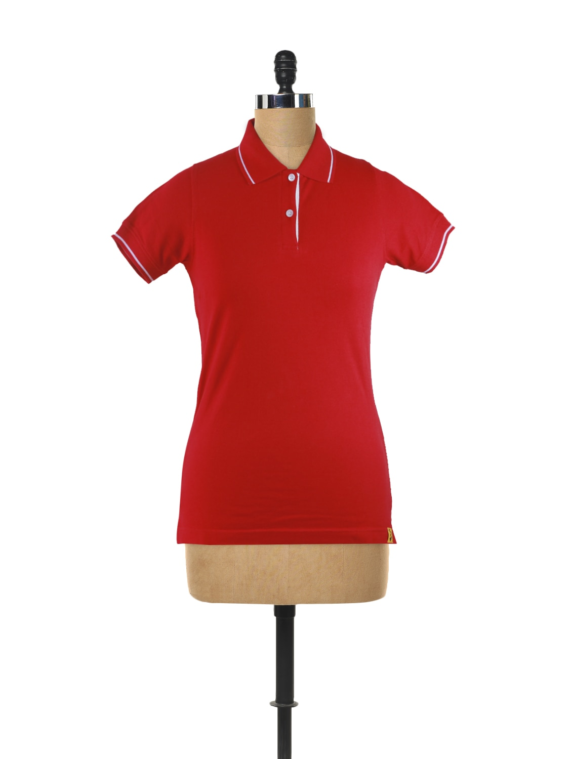 short sleeved solid polo neck t shirt