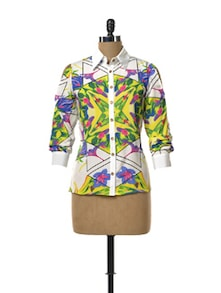 Cut Out Sheer Shirt In Abstract Floral Print - TREND SHOP
