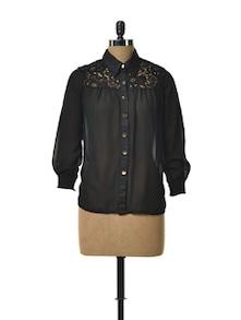 Sheer Shirt With Lacy Yoke - TREND SHOP