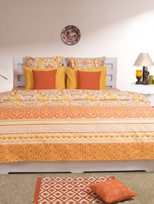 Yellow & Orange Printed Double Bedsheet - HOUSE THIS