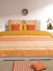 Yellow Printed Double Dohar Cover - HOUSE THIS