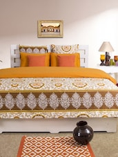Mustard Printed Double Duvet Cover - HOUSE THIS