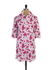 Floral Buttoned In Kurti In White-Red - Purab Paschim