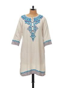 Ethnic Cream & Blue Printed Kurta - Global Desi