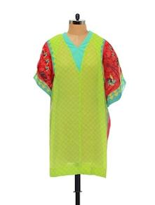 Elegant Lime Green Printed Dress - Global Desi