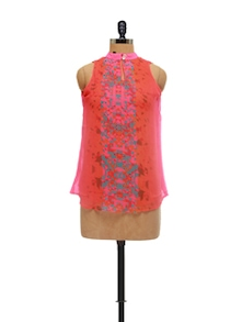 Stylish Orange & Pink Printed Top - AND