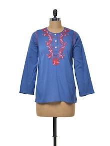 Buttoned Royal Blue Kurti With Floral Embroidery - Myra