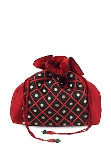 Red And Black Potli With Aari Work - Evokriti