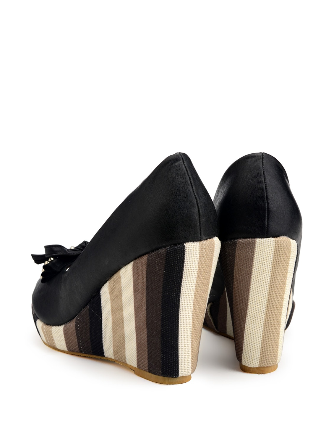 aefead33e83b Buy Black Wedge Sandals With A Striped Heel for Women from Carlton London  for ₹2995 at 0% off