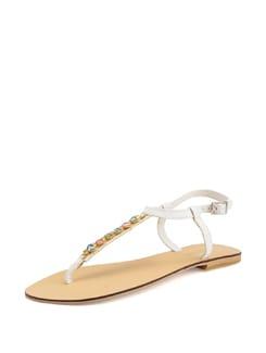 White Sandals With Multi Colour Embellishments - Carlton London