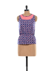 Printed Navy Top With Net - STREET 9