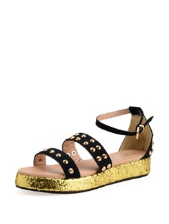 Black And Gold Studded Sandals - Carlton London