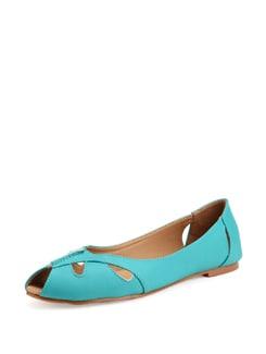 Blue Peep Toe Ballerinas - Carlton London