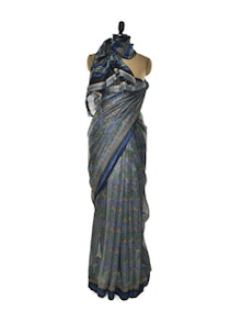 Printed Blue Bhagalpuri Silk Saree - ROOP KASHISH
