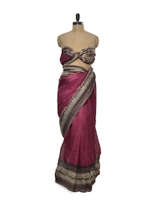 Stylish Pink Bhagalpuri Silk Saree - ROOP KASHISH