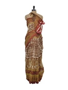 Earthy Brown Bhagalpuri Silk Saree - ROOP KASHISH