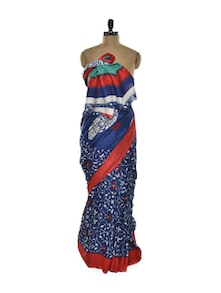 Blue Floral Silk Saree - ROOP KASHISH