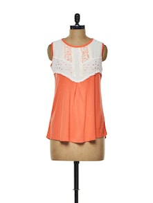 Orange And White Embroidered Top - CHERYMOYA