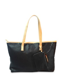 Weave Quilted Black Tote Bag - Bags By Just Women