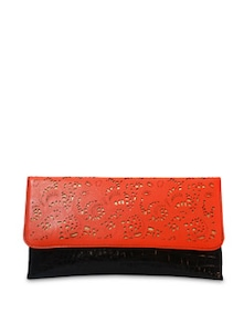 Orange And Black Cutwork Clutch - Bags By Just Women
