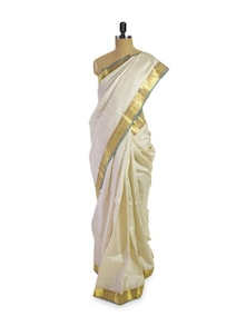 Pretty Off-White And Gold Saree - Pratiksha