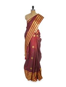Red And Gold Striped Saree - Pratiksha
