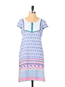 Chic Blue Short Sleeved Kurta - Aaboli