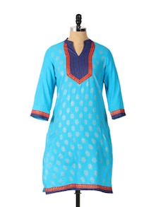 Simple And Decent Long Sleeved Blue Kurta - Aaboli