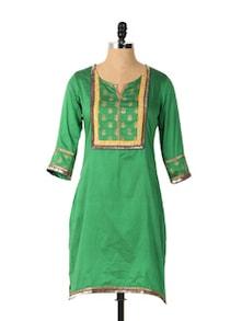 Green Stylish Long Sleeved Kurta - Aaboli