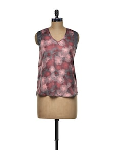 Pleated Red Floral Polyester Top - I AM FOR YOU