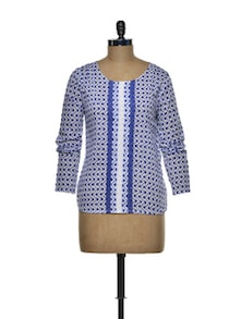 Geometric White And Blue Cotton Top - I AM FOR YOU