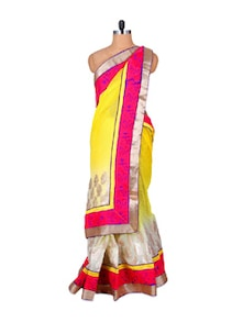 Passionate Pink And Yellow Net Saree - Fabdeal