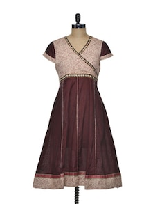 Wrap Neck Anarkali In Deep Maroon - Varan