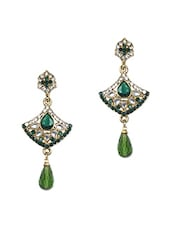 Green Crystal Studded Drop Earrings - Zara Deals