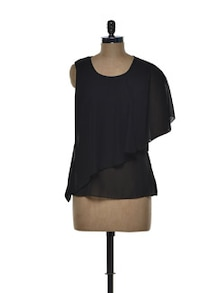 Black Chiffon Top With An Asymmetrical Layer - Tapyti