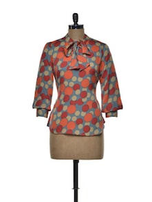 Polka Dotted Top With Tie Up Detailing - Tapyti