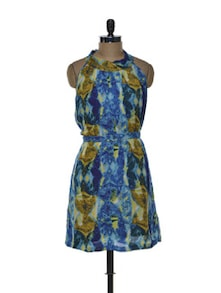 Abstract Print Halter Dress - Tapyti