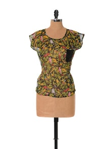 Tropical Print Chiffon Top - URBAN RELIGION