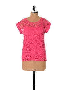 Candy Crush Pink Lace Top - URBAN RELIGION