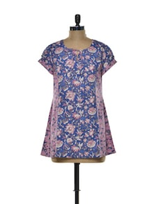 Floral Blue-pink Cotton Kurta - Indie Cotton Route