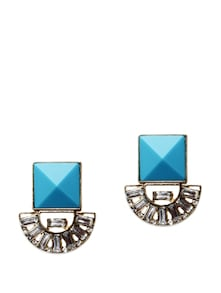 Turquoise And White Stone Earrings - Miss Chase