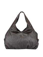 Glossy Black Textured Handbag - Bags Craze
