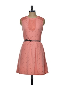Peach Dress In  Polyester And Lace - Mishka