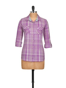 Cotton Shirt In Lavender Checks - Overdrive
