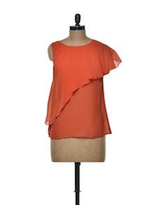 Layered Orange Top In Sheer Chiffon - Besiva