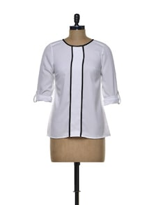 Classic White Top With Front Placket - Besiva