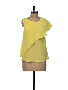 Layered Yellow Top In Sheer Chiffon - Besiva