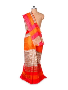 Orange And Red Art Silk Saree - Hypno Tex