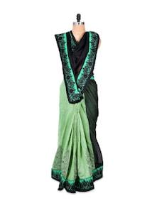 Mint Green Chiffon Art Silk Saree - Hypno Tex
