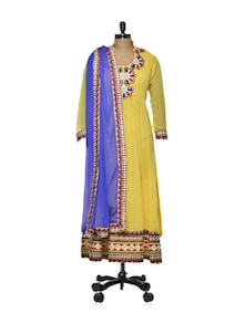 Yellow Anarkali With Tribal Design - Purple Oyster